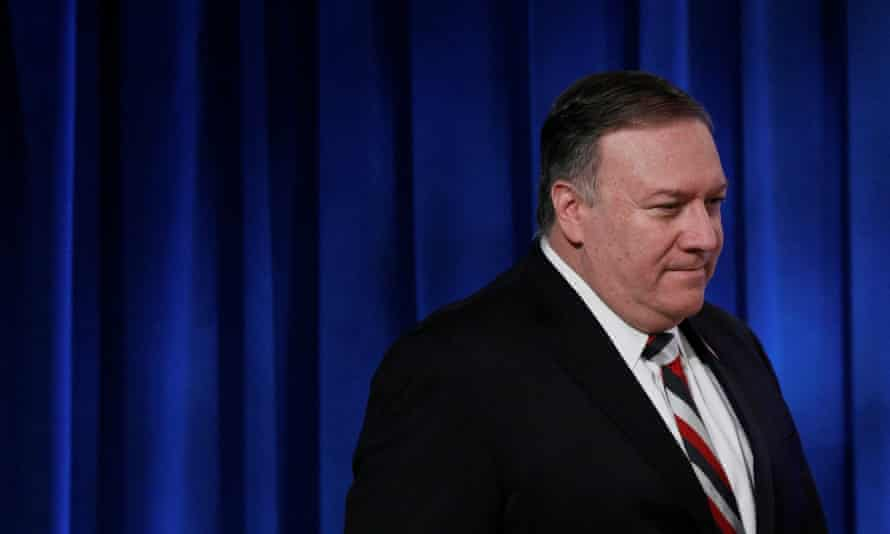 Mike Pompeo attends a news conference at the state department in Washington DC, on 17 March.