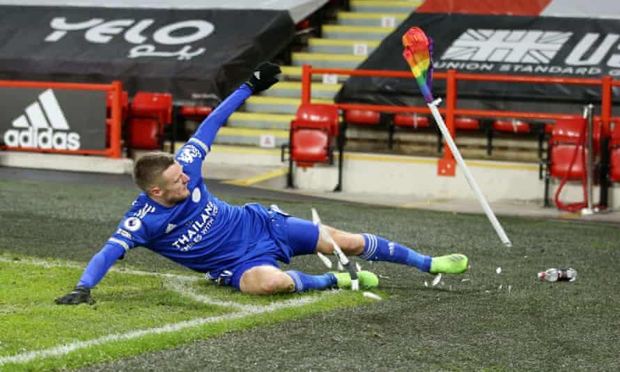 Jamie Vardy destroys a corner flag in celebration after scoring Leicester's winner at Sheffield United.