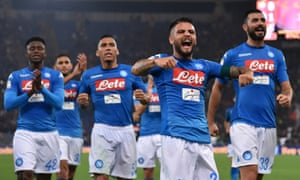 Lorenzo Insigne leads Napoli's celebrations in the win over Roma.