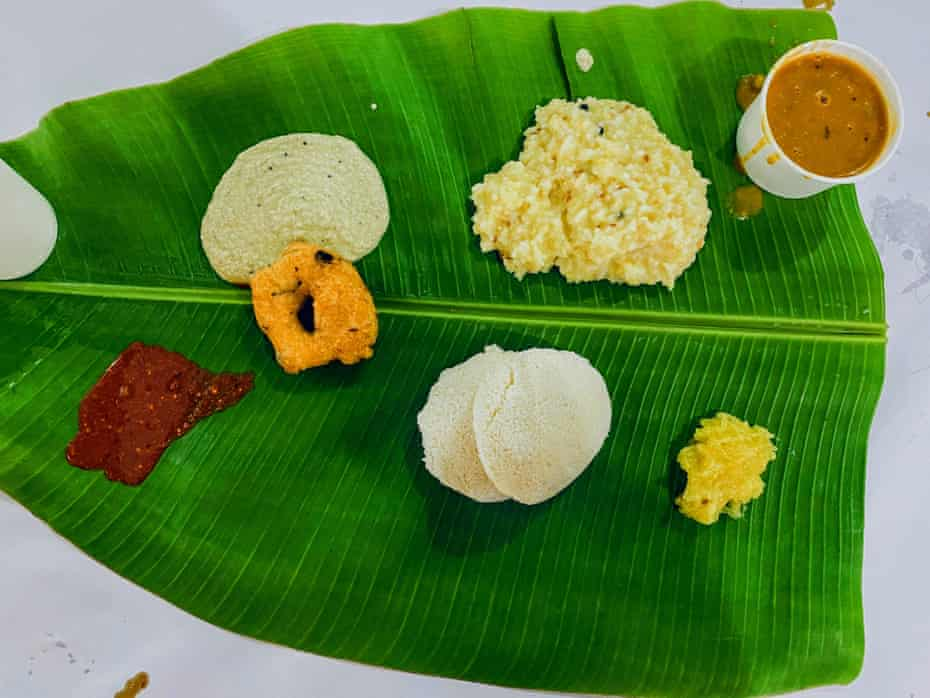 'A study in restraint' … pongal (top, centre) is a rice and dal dish that involves minimal use of spices.