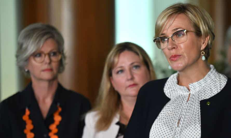 Independent Member for Indi Helen Haines, Centre Alliance member for Mayo Rebekha Sharkie and independent MP for Warringah Zali Steggall at a press conference at Parliament House