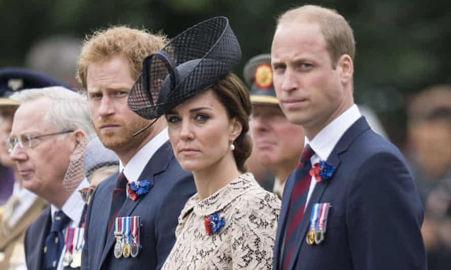 L to R: Prince Harry and the Duchess and Duke of Cambridge at the Somme centenary commemorations in France earlier this year.