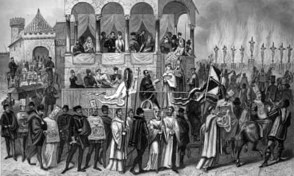 Victims are burned at the stake during the auto-da-fé, the ritual of public penance of condemned heretics and apostates during the Spanish Inquisition.