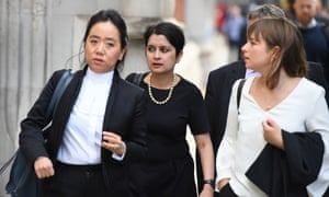 Shami Chakrabarti (centre), the shadow attorney general, arriving at the Royal Courts of Justice this morning for the high court legal challenge to the PM's decision to prorogue parliament for five weeks.