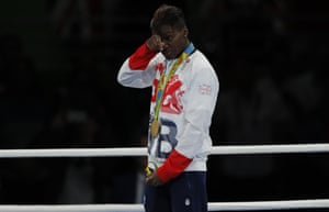 Nicola Adams of Great Britain is emotional on the podium after winning the gold medal in the Women's Fly (48-51kg) Final Bout.