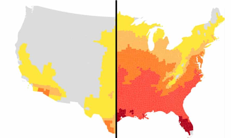 Without further action to reduce global heat-trapping pollution, parts of Florida and Texas could feel like 100F or hotter for over four months out of the year.