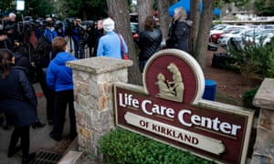 Family members of residents at the Life Care Center home, in Kirkland, Washington, where some patients have died from Covid-19, at a press conference on 5 March.