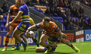 Jordan Rankin scores Castleford's second try in their Elimination Final play-off victory at Warrington.