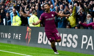 Watford vs Manchester City<br>epa06208715 Manchester City's Sergio Aguero celebrates after scoring against Watford during their Premier League match at Vicarage Road Stadium Watford, Britain, 16 September 2017.  EPA/WILL OLIVER EDITORIAL USE ONLY. No use with unauthorized audio, video, data, fixture lists, club/league logos or 'live' services. Online in-match use limited to 75 images, no video emulation. No use in betting, games or single club/league/player publications.