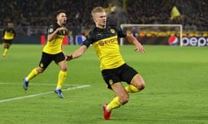 Dortmund's Erling Haaland celebrates his second goal.