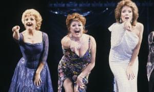 Julia Mckenzie, Lynda Baron and Diana Rigg in the Stephen Sondheim musical Follies at the Shaftesbury Theatre in London