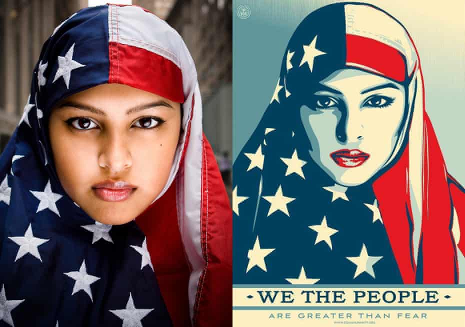 Ridwan Adhami's I Am America photo next to Shepard Fairey's We The People for the Amplifier Foundation.