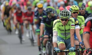 Alberto Contador pictured during today's stage.