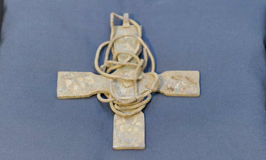 An Anglo Saxon pectoral cross from the Galloway Hoard.