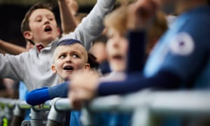 Manchester City fans are a happy bunch after that second goal went in.