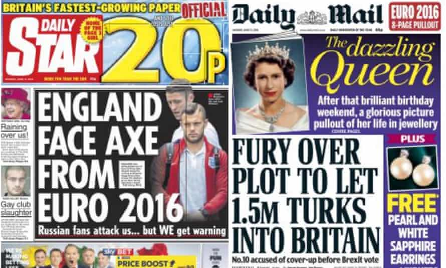 Mass murder ignored: the Daily Star and Daily Mail front pages.