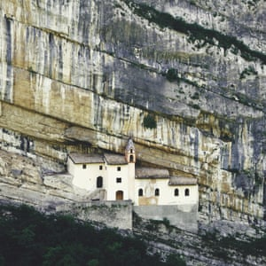 Sheltered life. The Eremo di San Colombano monastery is built into a cliff face near the town of Rovereto. When it was built is debated: anywhere between the 10th and 14th centuries! It was, however, restored in 1996 and is accessed by a staircase carved into the rock.