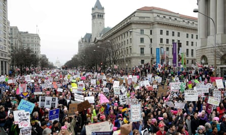Demonstrators on the Women's March in January.