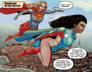 La Borinqueña and Supergirl fly over in the comic written by Will Rosado. Artwork by Will Rosado, Gabo, & Wilson Ramos, Jr.