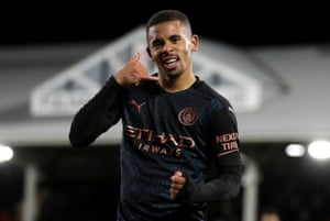 Manchester City's Gabriel Jesus celebrates scoring their side's second goal of the game.