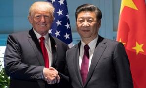 Donald Trump and Xi Jinping shake at the July 2017 G20 Summit in Hamburg.