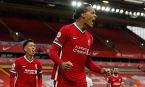Virgil van Dijk of Liverpool celebrates scoring their second goal.