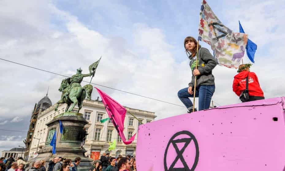 An Extinction Rebellion demonstration in Brussels on Saturday.