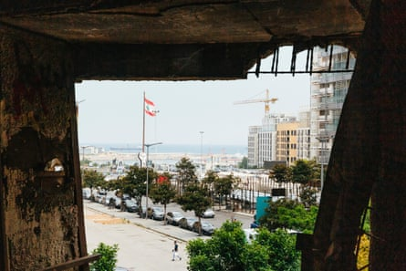 View of Martyrs' Square, in Beirut, seen through the window of an abandoned cinema.