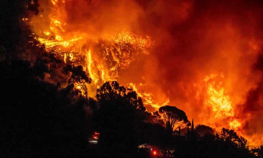 The 'cave fire' in Santa Barbara, California, November 2019.