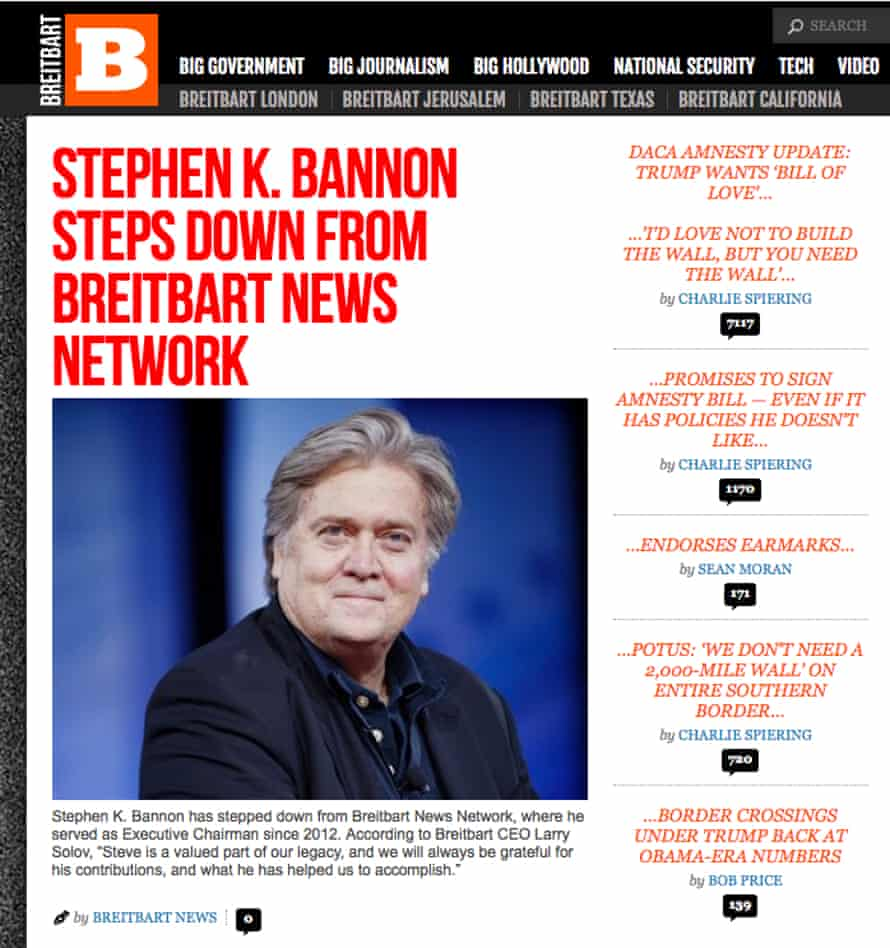 The announcement on Breitbart's website.