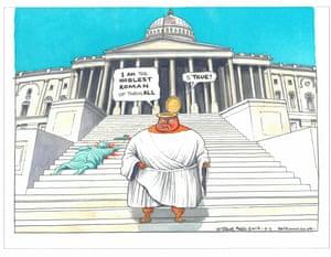 Trump as Brutus, drawn by Steve Bell