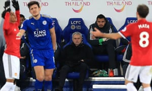 José Mourinho looks on as Manchester United threw away a 2-1 lead to 10-man Leicester in injury-time