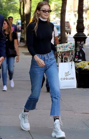 Gigi Hadid dons her walking boots.