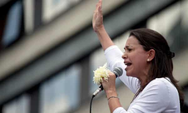 María Corina Machado, a radical opposition leader, at an anti-government protest in Caracas.