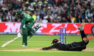 Pakistan's Haris Sohail is run out by New Zealand's Martin Guptill.