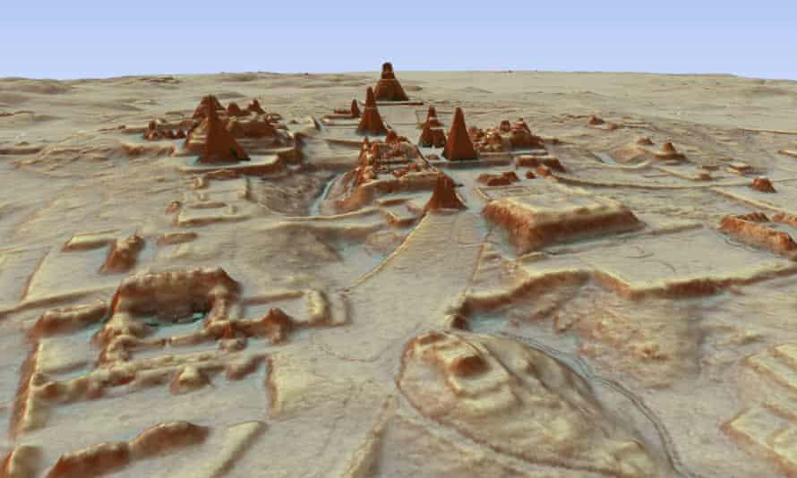 This digital 3D image provided by Guatemala's Mayan Heritage and Nature Foundation shows a depiction of the Mayan archaeological site at Tikal in Guatemala created using LiDAR aerial mapping technology.