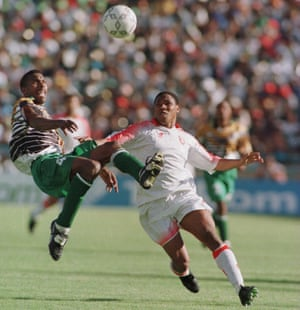 Lucas Radebe in action for South Africa in the final against Tunisia.