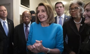 Nancy Pelosi,John Lewis,Eric Swalwell**Adding names to caption** House Democratic Leader Nancy Pelosi of California, emerges victorious from the Democratic Caucus leadership elections, as her party takes the majority in the new Congress in January, at the Capitol in Washington, Wednesday, Nov. 28, 2018. From left are: Rep. Adam Schiff, D-Calif., Rep. John Lewis, D-Ga., Democratic Leader Nancy Pelosi, Rep. Eric Swalwell, D-Calif., Rep. Joyce Beatty, D-Ohio, and Rep. Kathy Castor, D-Fla.(AP Photo/J. Scott Applewhite)