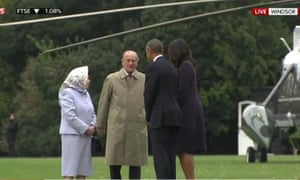 The Queen and Duke of Edinburgh meeting Barack Obama and his wife Michelle