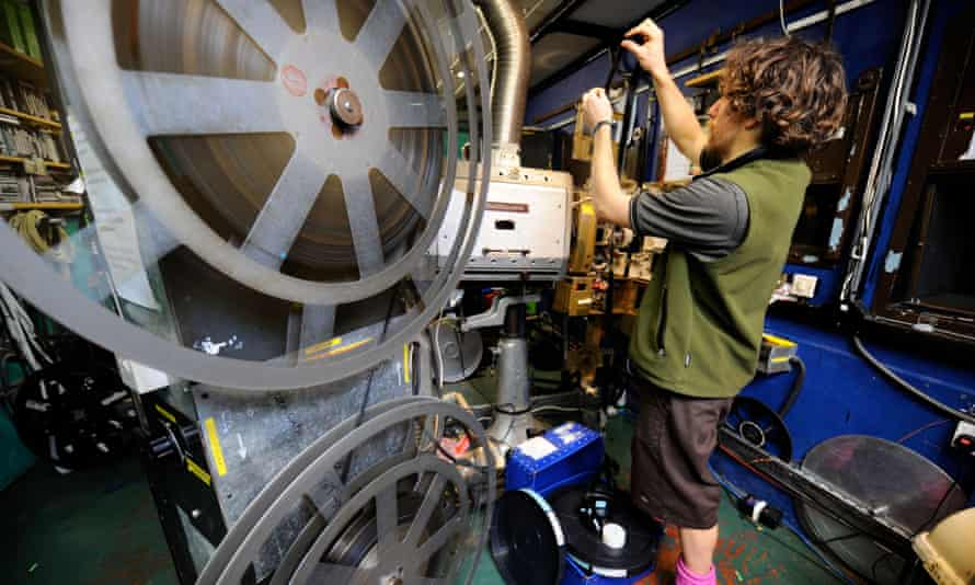 A projectionist at the Cube in Kingsdown, Bristol.
