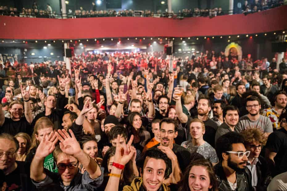 The crowd at the Bataclan minutes before the attack by terrorists on 13 November 2015.
