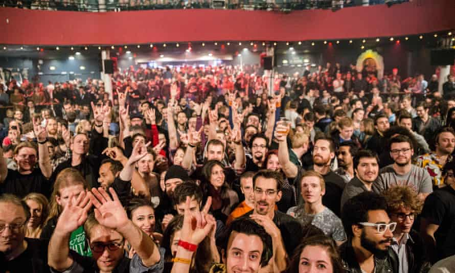 The Bataclan theatre in Paris minutes before the attack of 13 November 2015. Ismael El Iraki can be seen in the bottom right-hand corner, wearing white glasses.