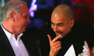 Pep Guardiola with Bayern's Uli Hoeness at the club's Christmas party in Munich on Sunday.