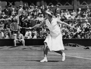 """US tennis player Helen Wills Moody, who won eight Wimbledon singles titles, made the white visor, sometimes referred to as the """"Californian eyeshade"""" her signature style."""