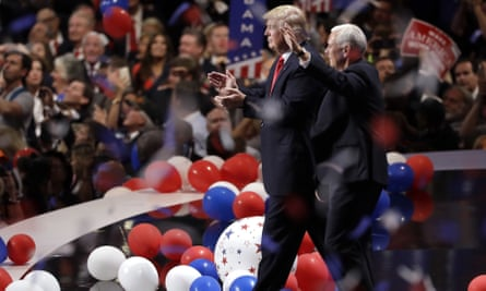 Donald Trump and Mike Pence at the Republican national convention in Cleveland, Ohio, on 21 July 2016.