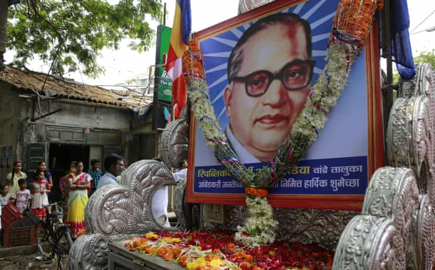 A procession held in 2015 to mark the anniversary of the birth of Bhim Rao Ambedkar in Mumbai, India.