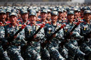 Soldiers march during the 'Day of the Sun' festival on Kim Il Sung Square
