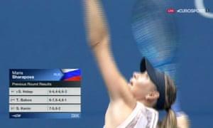 Maria Sharapova warming up.