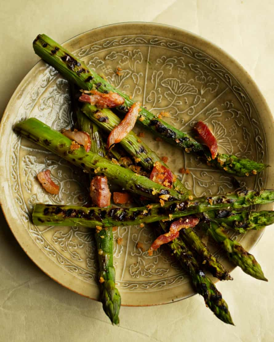 Spear carriers: asparagus with pancetta.