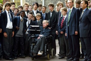 Stephen Hawking at his old school, St Albans